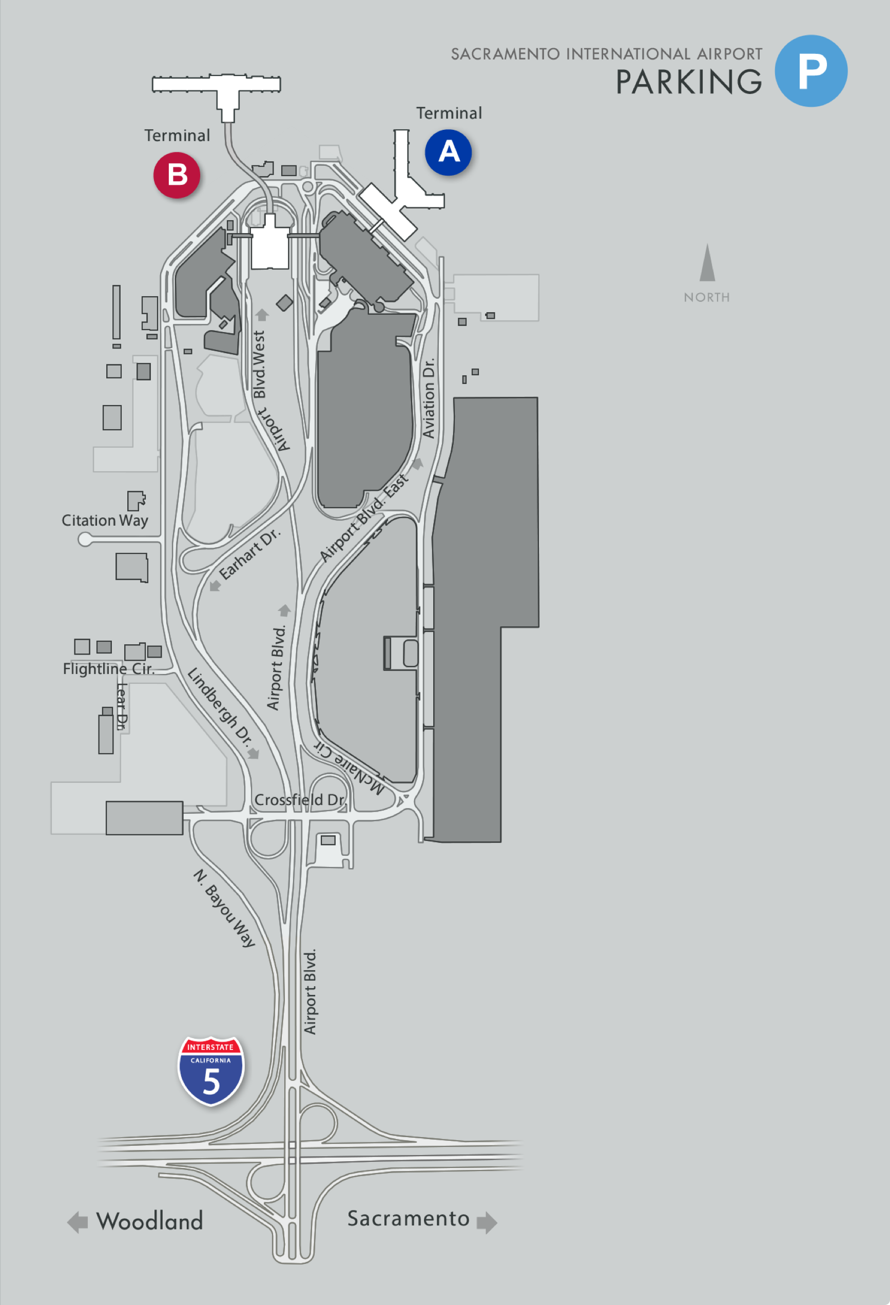 parking garage. smf  maps
